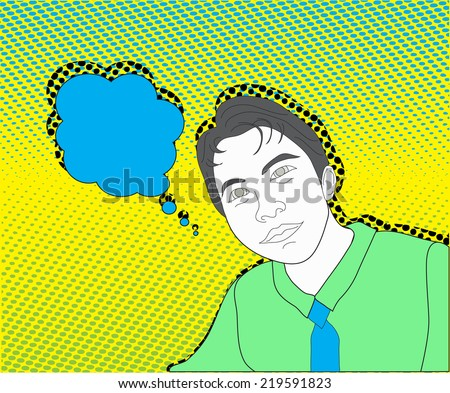 Boy sketch in comic style, comic background, cartoon back ground - stock vector