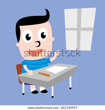 Boy Student; Vector Illustration - stock vector