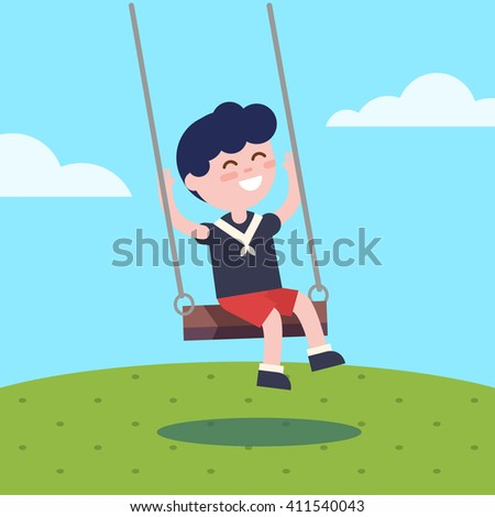 Boy swinging on a rope swing. Modern flat vector illustration clipart. - stock vector