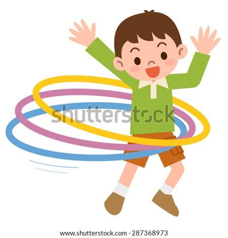 Boy that the hula hoop - stock vector