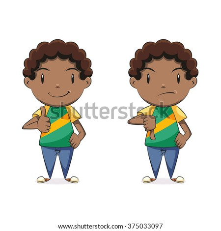 Boy thumbs up thumbs down, vector illustration - stock vector