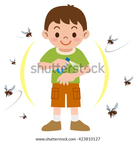 Boy to spray insect repellent - stock vector