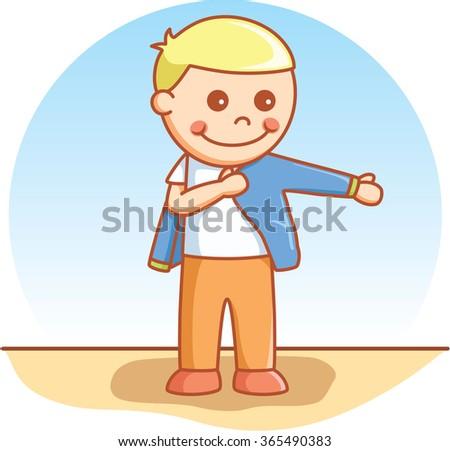 Boy wearing cloth - stock vector
