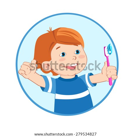 Boy With A Toothbrush In Hand. Boy Giving A Thumbs Up Sign Gesture. Brush Teeth. Cartoon Vector Illustrations. Toothbrush Sanitizer. Toothbrush Image.Tooth Decay. Tooth Infection. Tooth Sensitivity. - stock vector