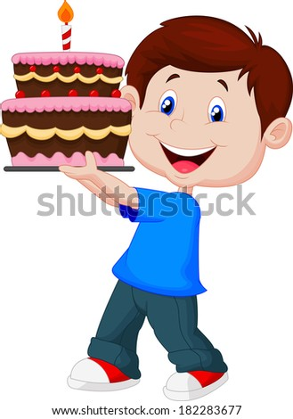 Boy with birthday cake - stock vector