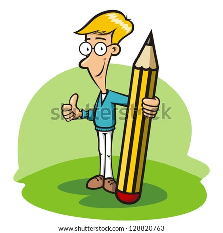 Boy with glasses holding a big pencil - stock vector