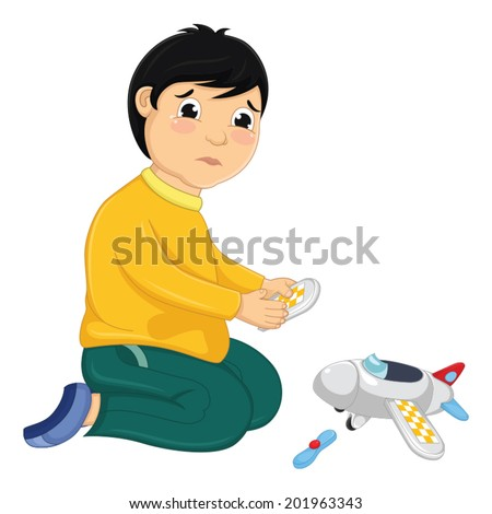 Boy with His Broken Toy Vector Illustration - stock vector