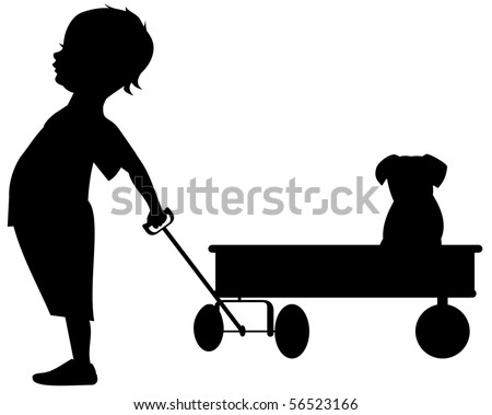 Boy with his pet in a wagon silhouette - stock vector
