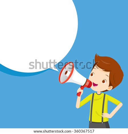 Boy With Megaphone Announcement And Speech Bubble, Commercial, Promotion, Event, Ad, Marketing, Announcer - stock vector