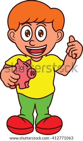 Boy with Piggy Bank Cartoon Illustration - stock vector