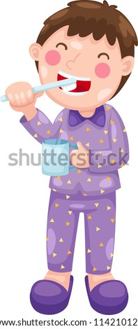 boy with toothbrush vector illustration on a white background - stock vector