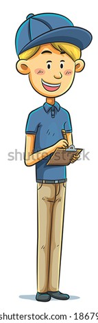 Boy Writing on Board - stock vector