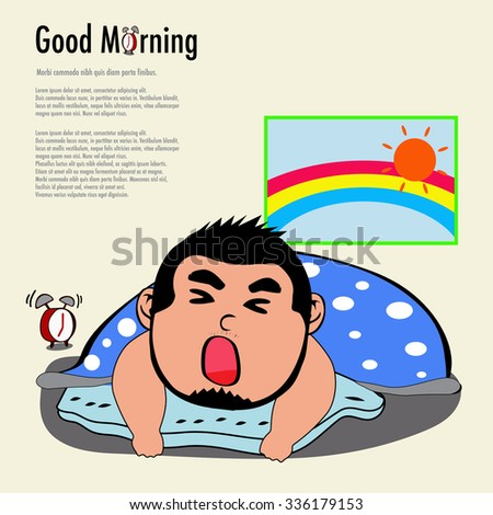 Boy yawn after woke up in the morning - stock vector