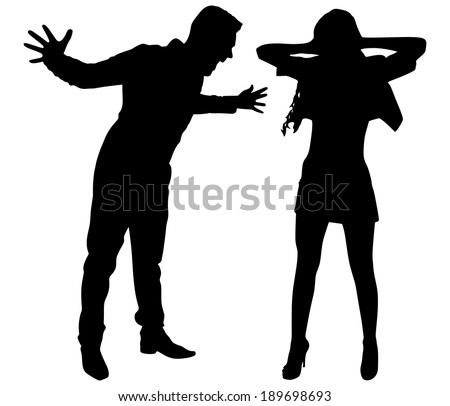 Boy yelling at his girlfriend, vector  - stock vector