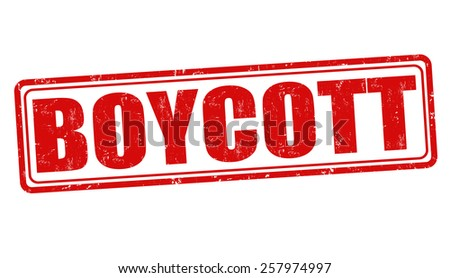 Boycott grunge rubber stamp on white background, vector illustration - stock vector