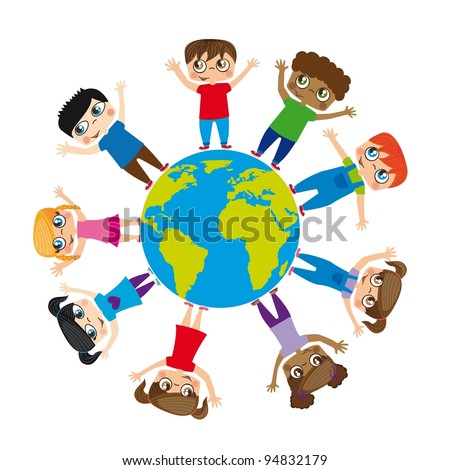 Boys and girls around the world, Vector Illustration - stock vector