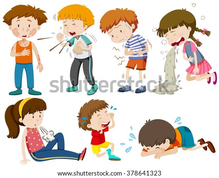 Boys and girls being sick illustration - stock vector