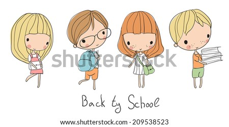 Boys and girls go to school  - stock vector