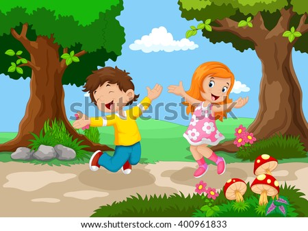 Boys and girls jumping for joy in a beautiful garden  - stock vector