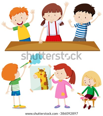 Boys and girls learning at school illustration - stock vector