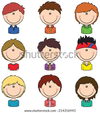 Boys avatar useful for Social network  - stock vector