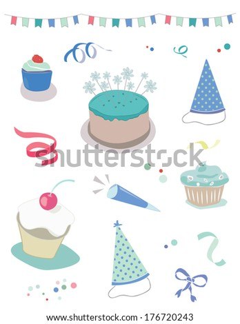 Boys Birthday Vector Party Collection With Cake, Streamers, Party Hats, Cupcakes, Confetti, Bows, Ribbons, and Party Garland - stock vector