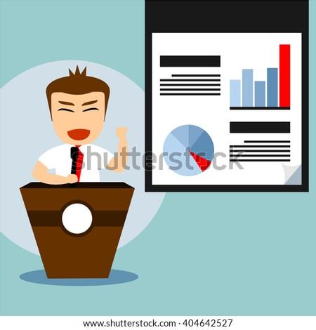 boys cartoon character at podium and showing chart  - stock vector