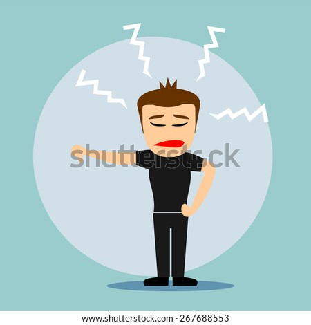 Boys cartoon character - disappointed - stock vector