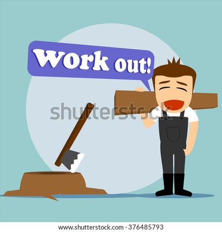 Boys cartoon character - handyman work out  - stock vector