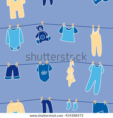 Boys' clothes and toys drying on the clothesline. Vector seamless pattern. - stock vector