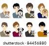 Boys / Dog?Cat - stock vector