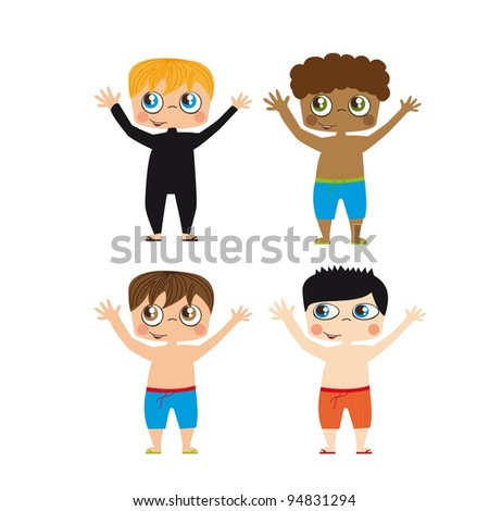 Boys draw on white background, Vector Illustration - stock vector