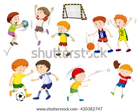 Boys playing different sports illustration - stock vector