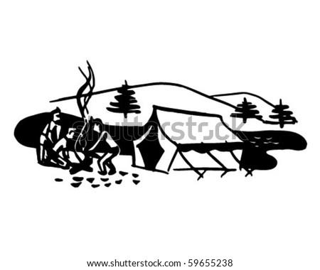 Boys Starting Campfire - Retro Clip Art - stock vector