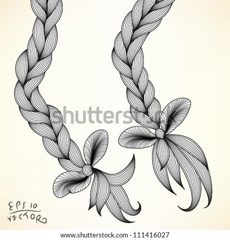Braid, vector illustration, EPS10 Vector background - stock vector