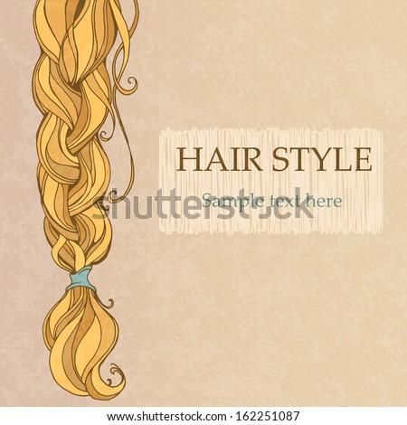 braided brunette hair vintage style poster - stock vector