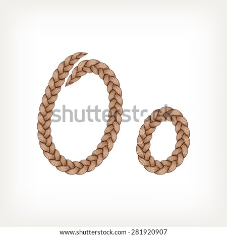 Braids font. Alphabet made from hairstyle plaits. Letter O - stock vector