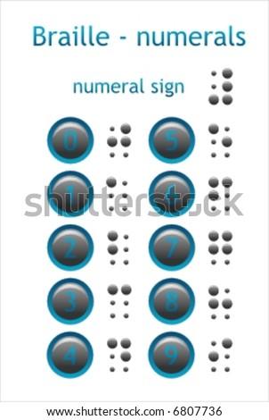 Braille - numerals - stock vector