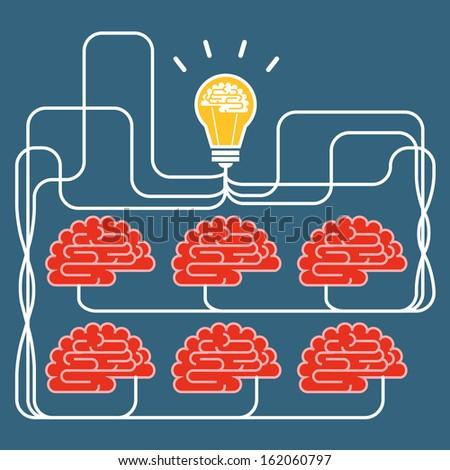 Brain and bulb light. Concept of Idea  - stock vector