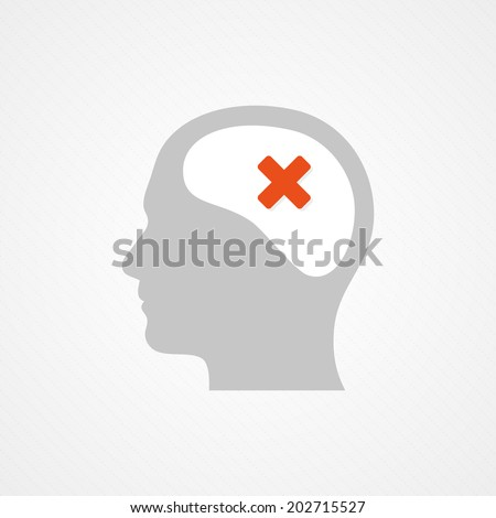 Brain and cross - stock vector