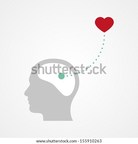 Brain and heart - stock vector