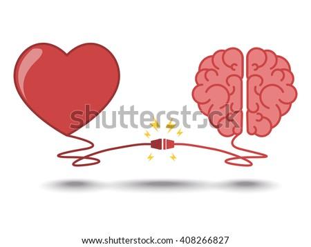 brain and heart interactions concept best teamwork - stock vector