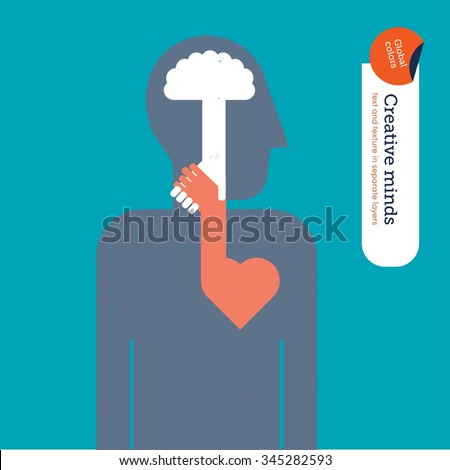 Brain and heart shaking hands. Vector illustration Eps10 file. Global colors. Text and Texture in separate layers. - stock vector