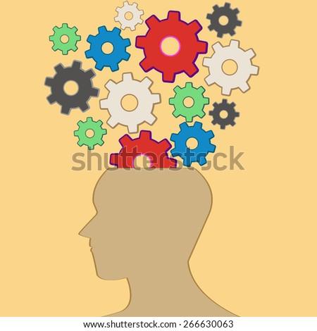 Brain and thinking / illustration / vector - stock vector