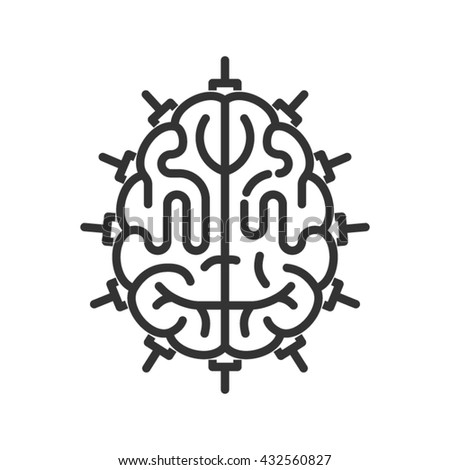 Brain as central processing unit. Line style icon. Artificial intelligence concept - stock vector