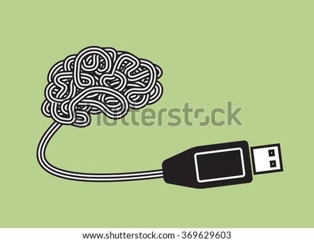 brain as portable plug and play device - stock vector