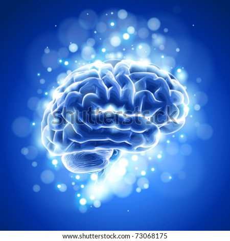 brain & blue bokeh abstract light background. Vector illustration / eps10 - stock vector