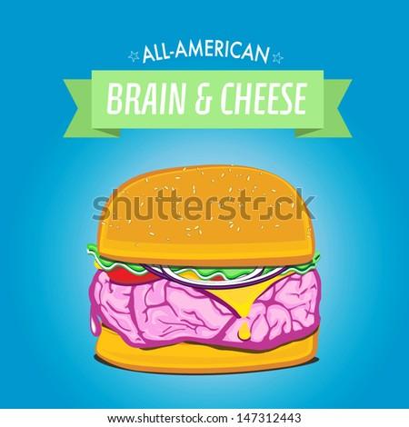 Brain Burger - stock vector