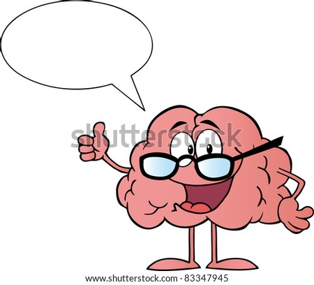 Brain Cartoon Character Giving The Thumbs Up And Speak - stock vector