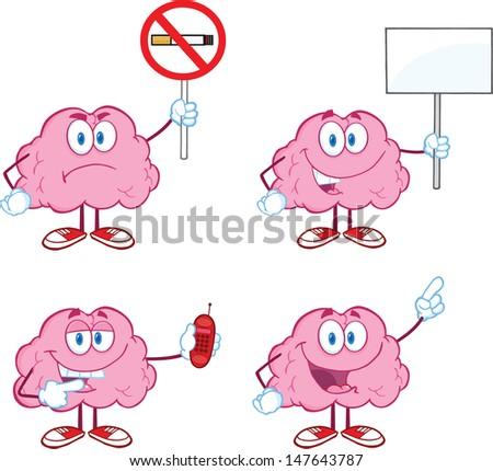 Brain Cartoon Mascot Collection 5 - stock vector